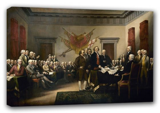 Trumbull, John: Signing the Declaration of Independence, 4th July 1776. Fine Art Canvas. Sizes: A4/A3/A2/A1 (00388)